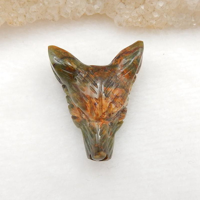 Handmade Green Opal Carved Wolf Head Pendant Stone, 26x22x11mm, 5.5g