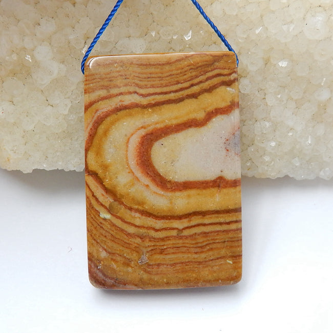Natural Us Biggs Jasper Drilled Rectangle Gemstone Pendant Bead, 43x28x8mm, 19.9g - MyGemGarden