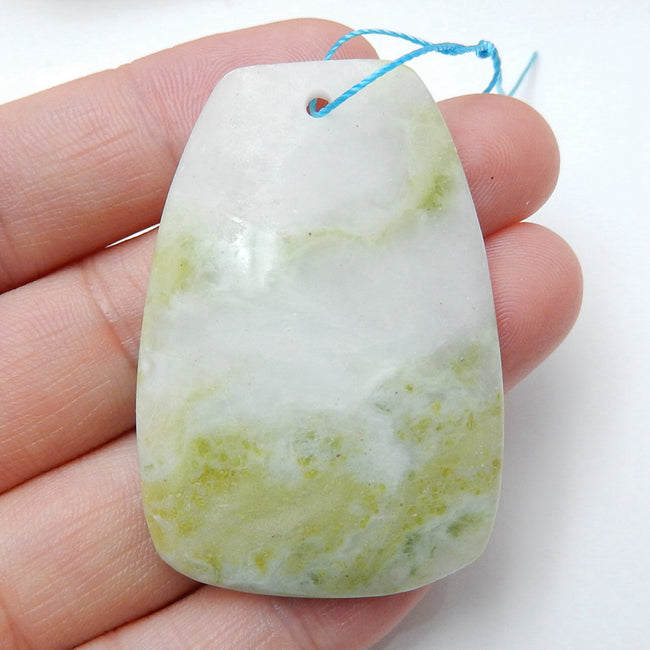 Natural Serpentine Drilled Gemstone Pendant Bead, 45x31x6mm, 15.4g - MyGemGarden
