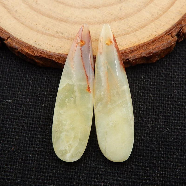 Yellow Opal Earrings Stone Pair, stone for earrings making, 36x8x3mm, 2.1g - MyGemGarden