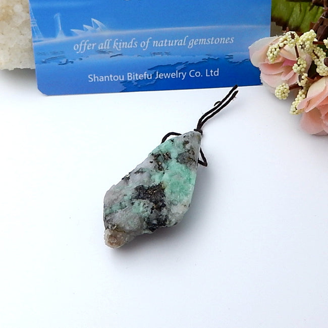 High Quality Natural Emerald Green Pendant Bead 49x25x14mm, 20g - MyGemGarden