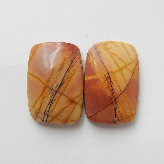 Natural Multi-Color Picasso jasper Gemstone Cabochon Pair, 17x12x4mm, 3.1g - MyGemGarden