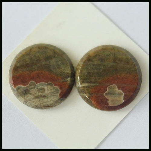Natural Mushroom Jasper 20mm Round Cabochons Pair, 20x20x3mm, 5.2g - MyGemGarden