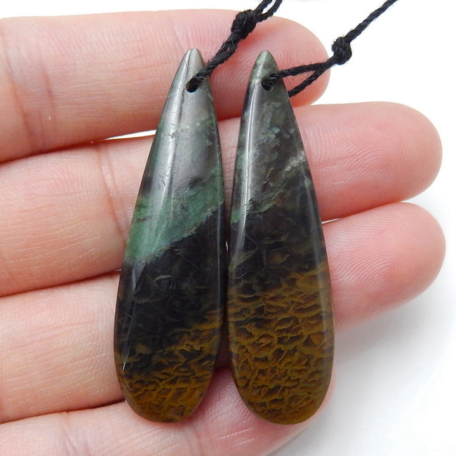 Natural Green opal Teardrop Earrings Pair, stone for Earrings making, 45x13x5mm, 8.6g - MyGemGarden
