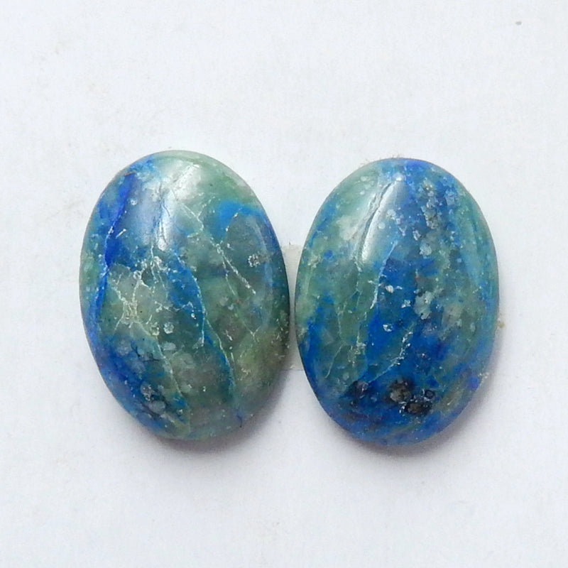 Natural Chrysocolla Oval Gemstone Cabochon Pair, 14x10x4mm, 2.12g - MyGemGarden