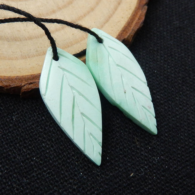 Green Turquoise Carved Leaf Earrings Stone Pair, 26x11x3mm, 2.1g - MyGemGarden