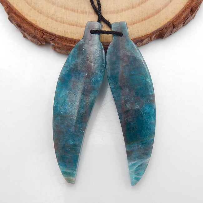 Carved Leaf Blue Apatite Crystal Earrings Stone Pair, 42x11x5mm, 7.6g