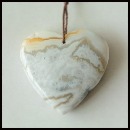 Carved Ocean Jasper Heart Shape Gemstone Pendant Bead, 30x28x8mm, 10.1g - MyGemGarden