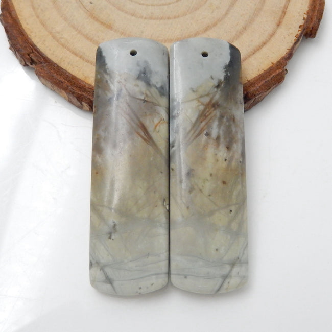 Picasso Jasper Rectangle Earrings Stone Pair, stone for earrings making, 45x13x5mm, 14g - MyGemGarden