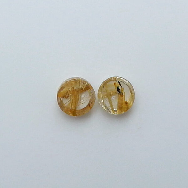 Natural Gold Rutilated Quartz 7.5mm round cabochons Pair, 7.5x7.5x4mm, 0.8g - MyGemGarden