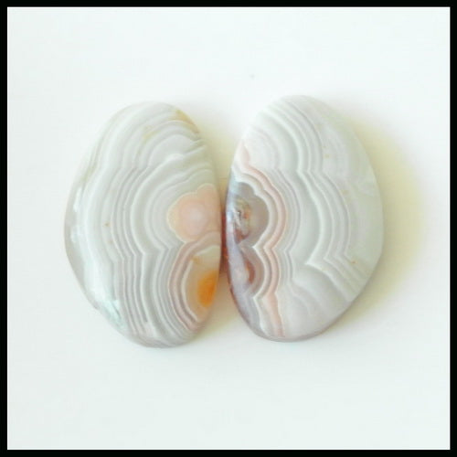 Natural Crazy Lace Agate Gemstone Cabochon Pair 20x13x4mm,3.5g - MyGemGarden