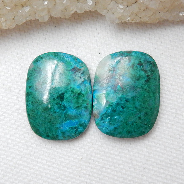 Natural Chrysocolla Gemstone Cabochon Pair, 21x16x5mm, 7.49g - MyGemGarden