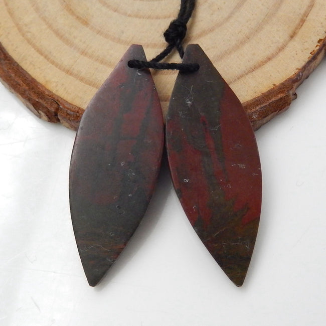Multicolor Picasso Jasper Carved Leaf Earrings Stone Pair, 36x13x4mm, 6g - MyGemGarden