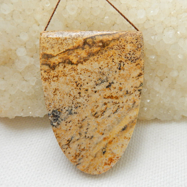 Natural Picture Jasper Drilled Gemstone Pendant Bead, 46x32x11mm, 27.1g - MyGemGarden