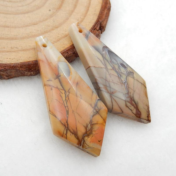 Tie-Shaped Multicolor Picasso Jasper Earrings Stone Pair, stone for earrings making, 35x15x5mm, 6.7g
