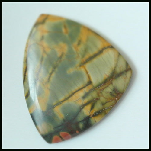 Natural Multi-Color Picasso Jasper Gemstone Cabochon 36x30x4mm,6.95g - MyGemGarden
