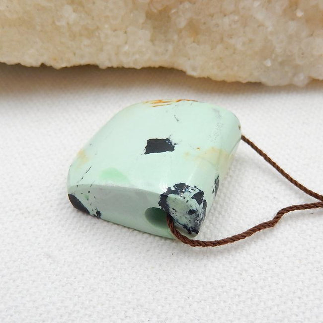 Green Turquoise Side Drilled Pendant Stone, 25x22x10mm, 8.3g