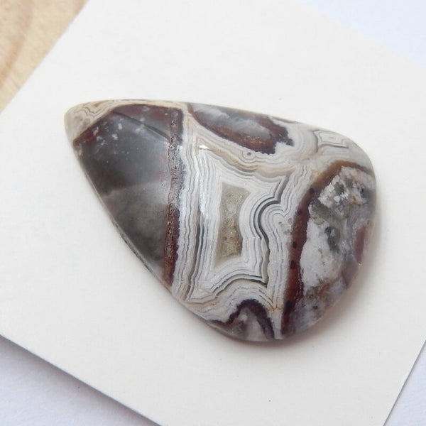 Natural Crazy Lace Agate Teardrop Gemstone Cabochon, 28x20x7mm, 4.81g - MyGemGarden