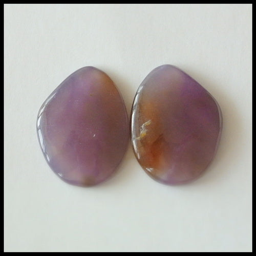 Natural Amethyst Gemstone Cabochon Pair 17x13x3mm,2.3g - MyGemGarden