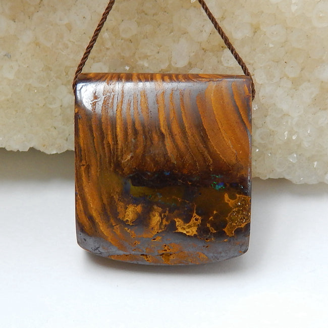 New, Natural Boulder opal Drilled Gemstone Pendant Bead, 29x26x13mm, 19.5g - MyGemGarden