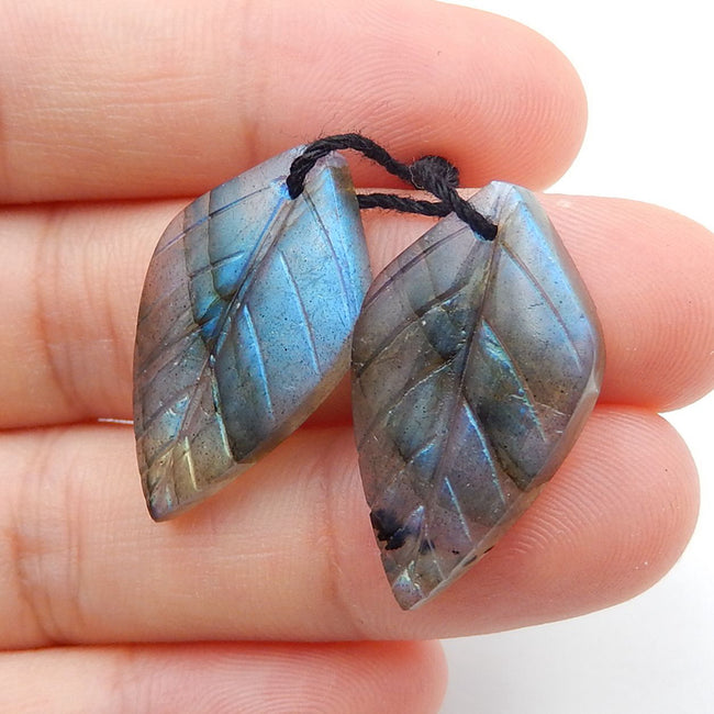 Labradorite Carved Leaf Earrings Stone Pair, 25x14x4mm, 4.6g - MyGemGarden