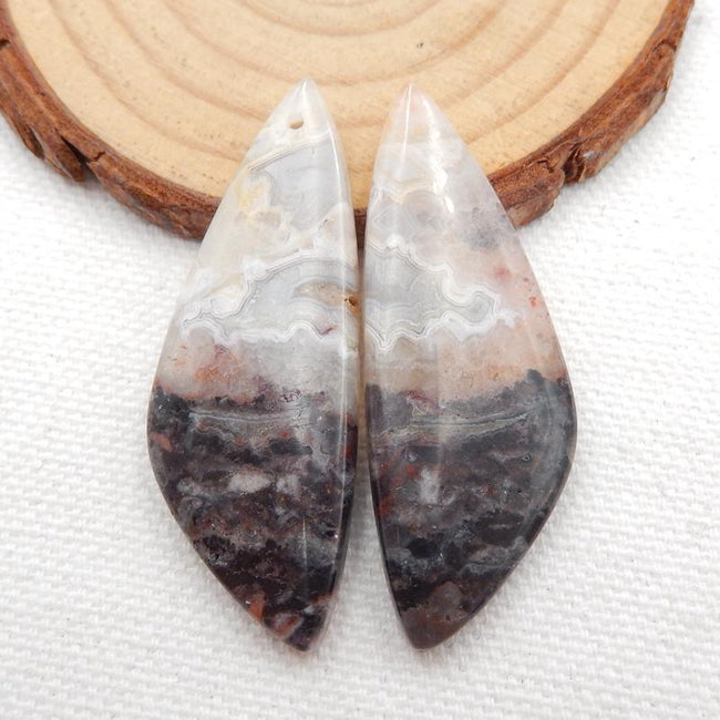 Natural Crazy Lace Agate Earrings Stone Pair, stone for earrings making, 45x16x5mm, 10.8g