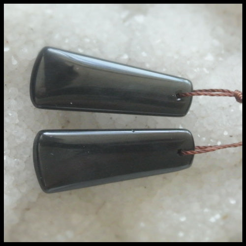 Natural Obsidian Gemstone Earrings Pair, 29x11x4mm, 4.3g - MyGemGarden