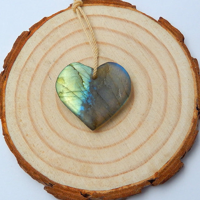 Labradorite Carved Heart Pendant Bead, 24x22x5mm, 3.6g - MyGemGarden