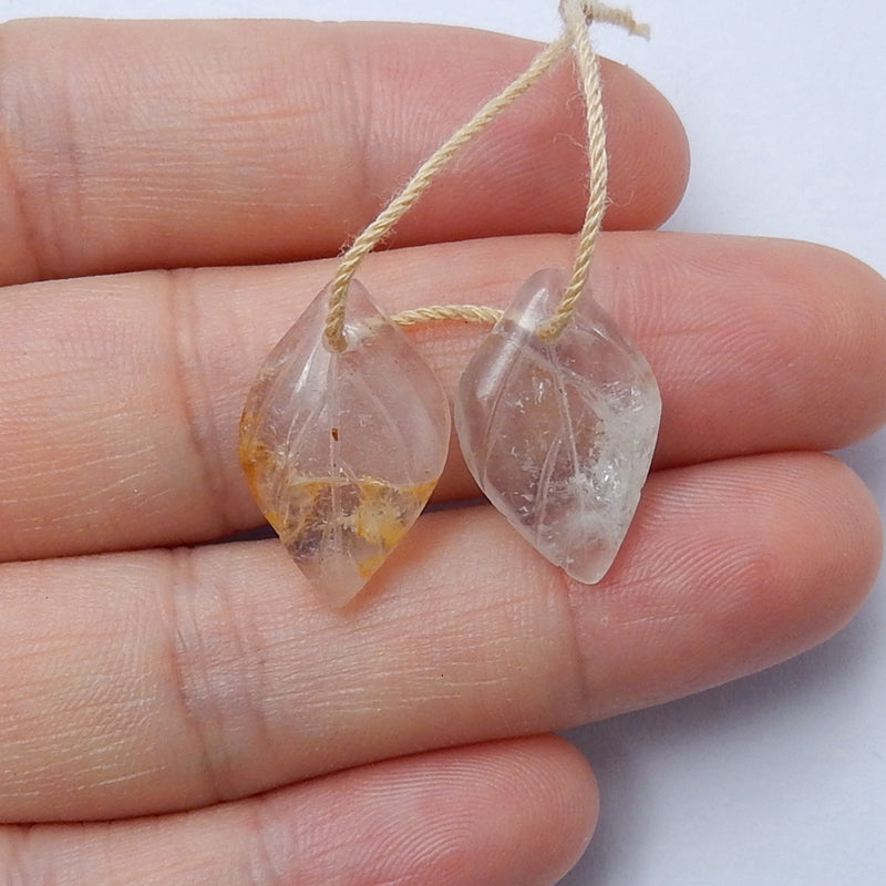 Hot sale Quartz Carved leaf Earrings Pair, 18x12x3mm, 2.1g - MyGemGarden