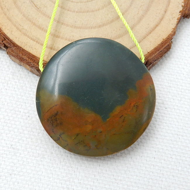 Natural Us Biggs Jasper Round Gemstone Pendant Bead, 32x8mm, 13.9g - MyGemGarden