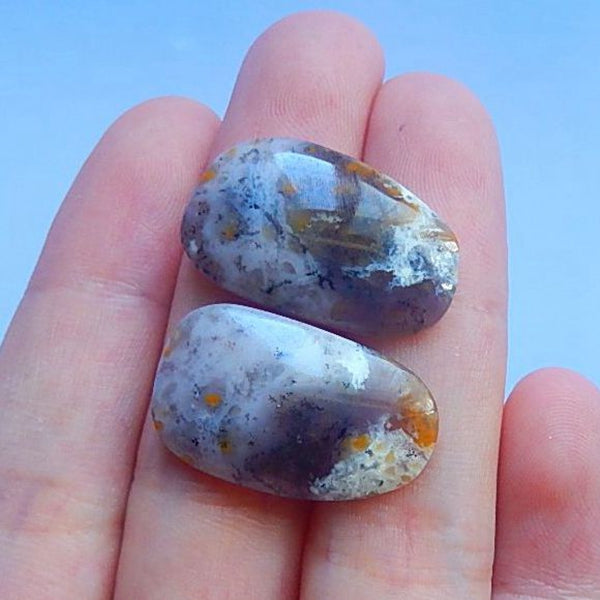 Sell 2 Pcs Arborization Opal Gemstone Cabochon Set,24x14x4mm,5.0g - MyGemGarden
