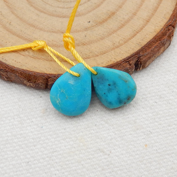 Turquoise Earrings Stone Pair, stone for earrings making, 13x10x3mm, 2.2g - MyGemGarden