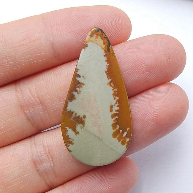 Natural Us Biggs Jasper Teardrop Gemstone Cabochon, 34x18x5mm, 4.1g - MyGemGarden