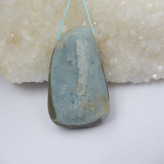 Drusy Quartz Gemstone Natural Pendant Bead, 43x26x10mm, 18.3g - MyGemGarden