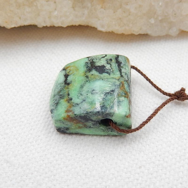 Green Turquoise Side Drilled Pendant Stone, 20x20x9mm, 6g
