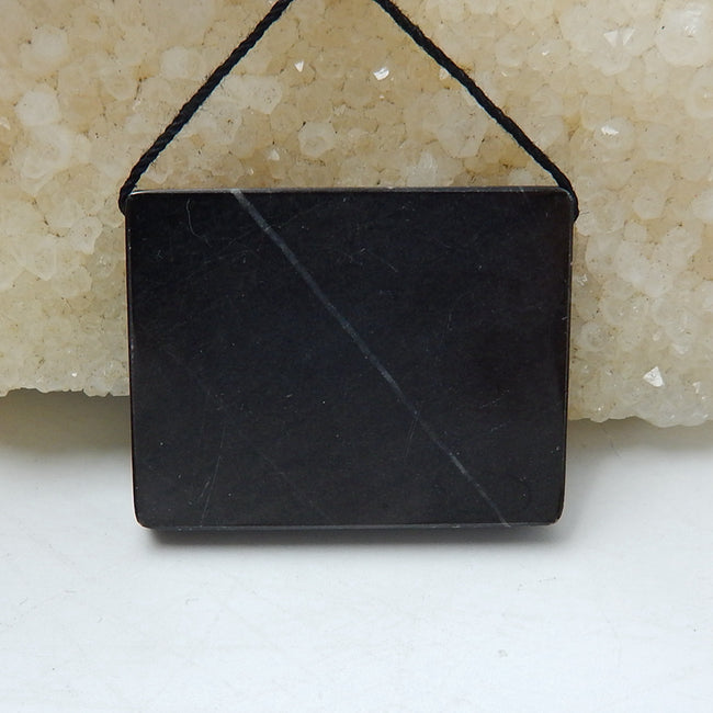Natural Black Stone And Chohua Jasper Drilled Rectangle Glued Pendant Bead, 34x27x6mm, 12.5g - MyGemGarden