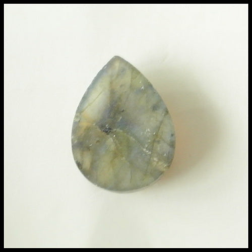 Natural Labradorite Drop Gemstone Cabochon, 18x14x5 mm, 2.4g - MyGemGarden
