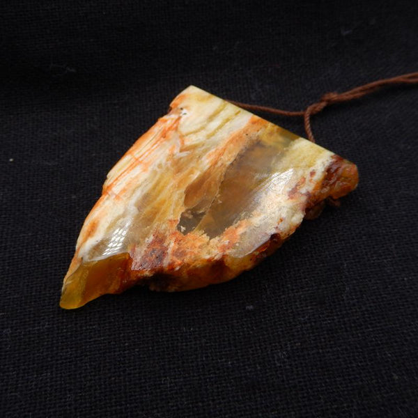 Natural Yellow Opal Gemstone Pendant, Natural Stone Jewelry, 48x37x10mm, 17.3g