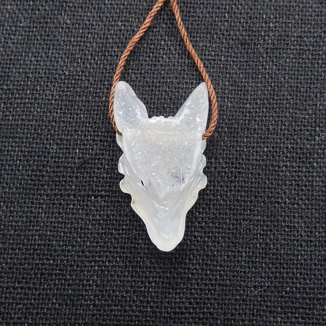 Druzy Agate Hand Carved Wolf Head Unique Pendant, 26x14x8mm, 3.4g