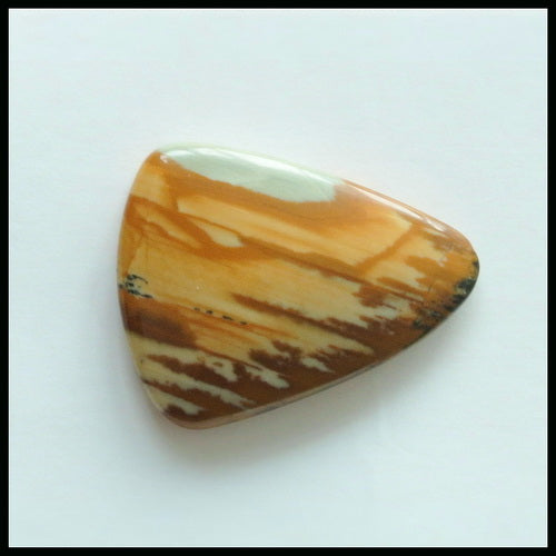 Natural US Biggs Picture Jasper Gemstone Cabochon, 24x19x4mm, 2.5g - MyGemGarden