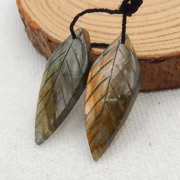 Labradorite Carved Leaf Earrings Stone Pair, 29x12x4mm, 4.1g - MyGemGarden