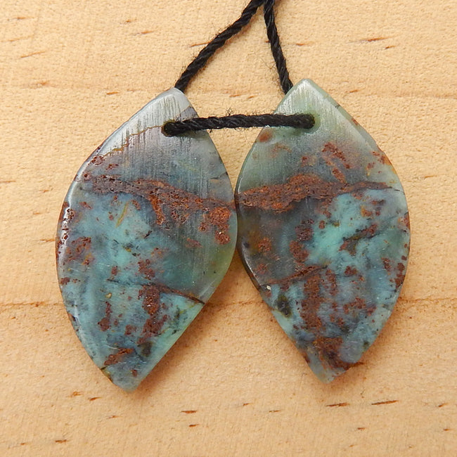 New!! Hot sale Green opal Carved leaf Earrings Pair, 25x14x3mm, 2.9g - MyGemGarden