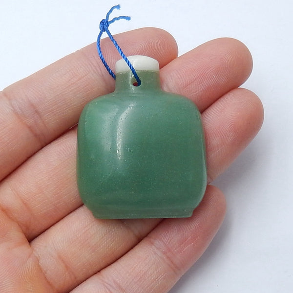 Green Aventurine Gemstone Pendant Bead, 37x30x8mm, 14.4g