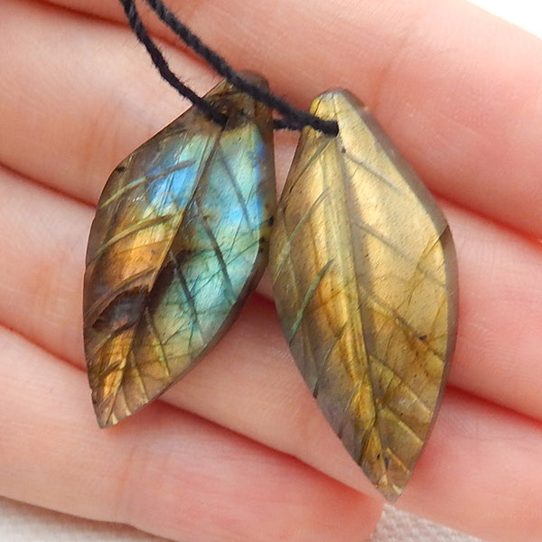 Labradorite Carved Leaf Earrings Stone Pair, 32x14x4mm, 5.6g - MyGemGarden