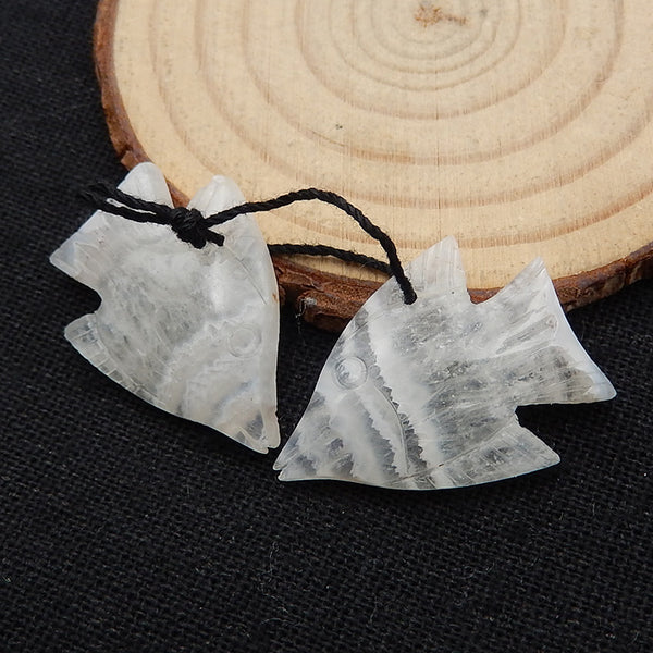 Carved Crazy Lace Agate Fish Gemstone Earrings set, 28x20x4mm, 6.2g