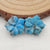 Carved Flower Blue Apatite Crystal Earrings Stone Pair, 13x14x4mm, 1.7g