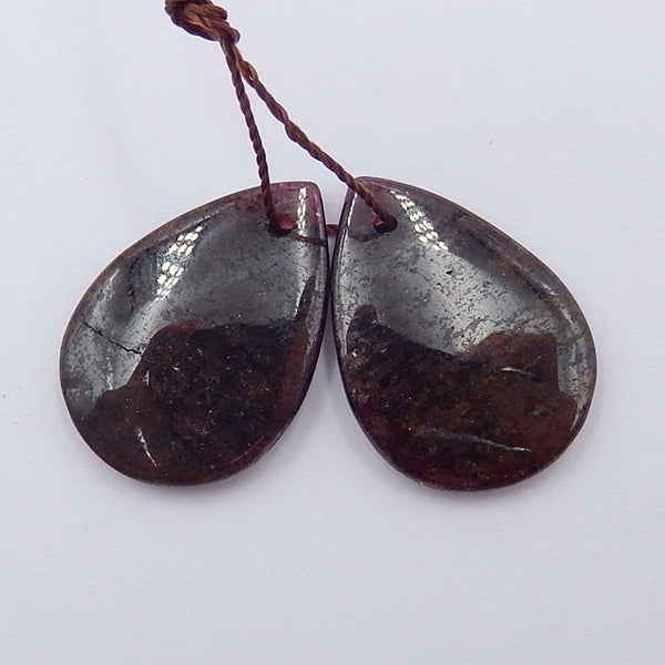 Teardrop Garnet Earrings Stone Pair, stone for earrings making, 23x16x3mm, 5.4g - MyGemGarden