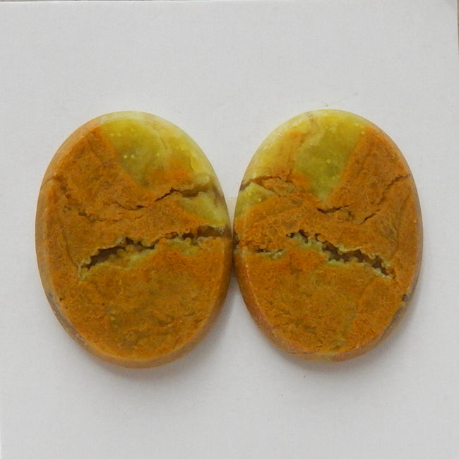 Natural Yellow opal Oval Gemstone Cabochon Pair, 20x15x3mm, 3.3g - MyGemGarden
