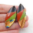 Labradorite, Red River Jasper, Obsidian, Serpentine Glued Earrings Stone Pair, 38x16x5mm, 4.2g