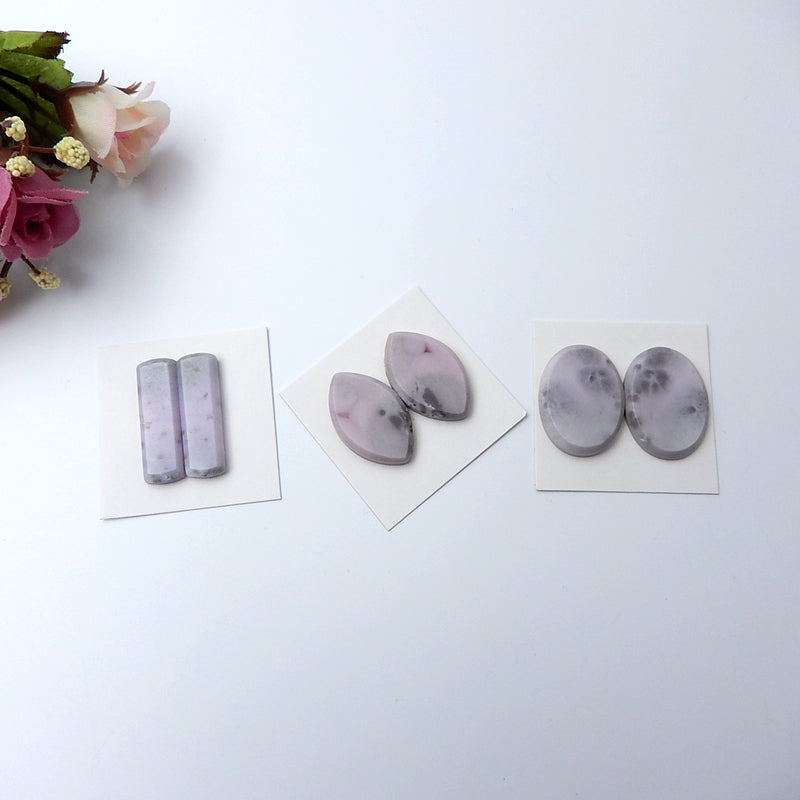 3 Pairs Natural Purple Agate Gemstone Cabochon Pairs, 28x9x4mm,25x19x4mm - MyGemGarden